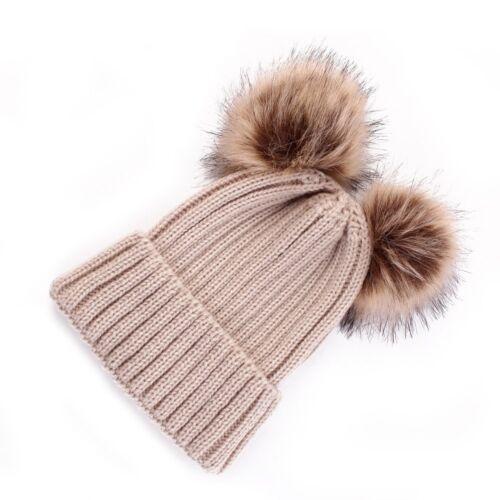 Damen Kinder Geflochten Strickmütze Baskenmütze Ski Ball Baggy Winter Warm Mütze