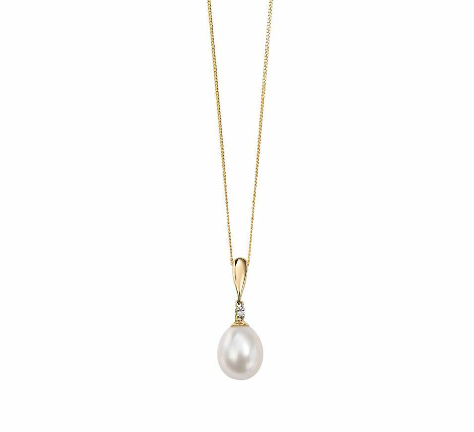 9ct Yellow gold Womens Stunning Diamonds and Pearl Drop Pendant New