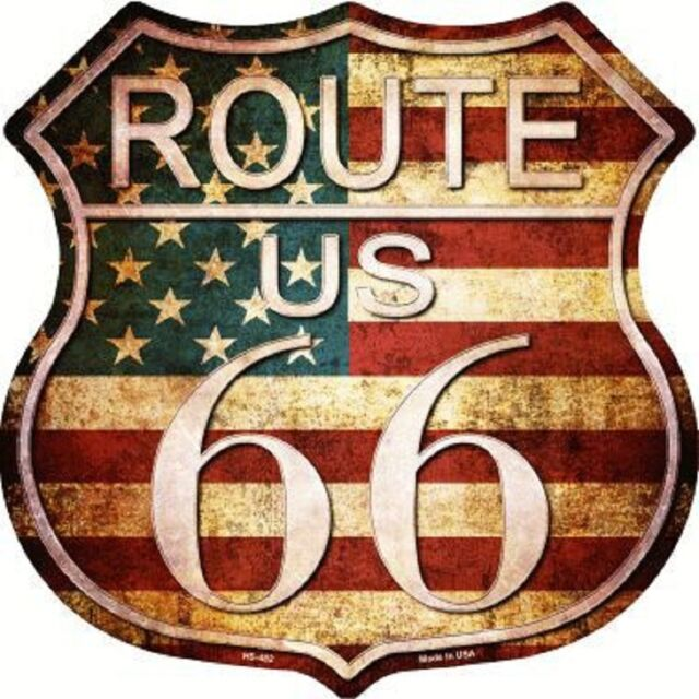 Route 66 American Distressed Vintage Aluminum Metal Novelty Highway