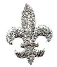 FLEUR DE LIS - SILVER - MARDI GRAS - REGAL/Iron On Embroidered Applique Patch