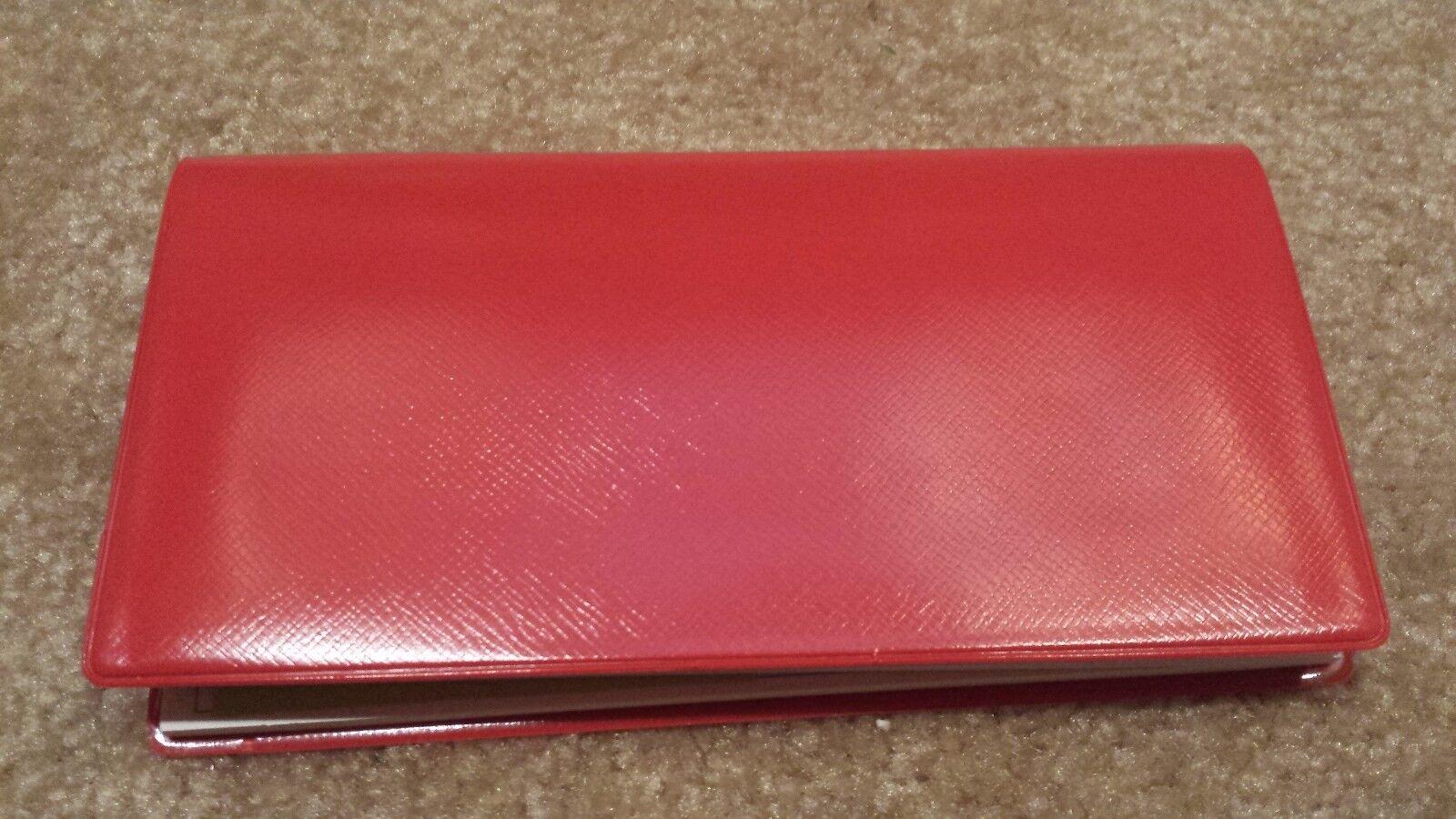 1 - Red Vinyl Checkbook Holder w/ Duplicate Flap Cover Top Tear Checks Register