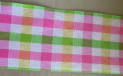 """5 yd PINK SMOOTH PLAID WIRE EDGE RIBBON 1 1/2""""-2 1/2"""" (choice of 2 widths)"""