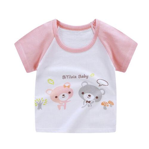 Toddler Baby Kids Boys T-Shirt Tops Summer Cotton Cartoon Print Clothes Child