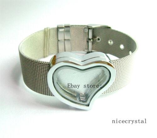 1pcs Plain Heart Slide flottant Verre Médaillon avec 18 mm Acier Inoxydable Bracelet