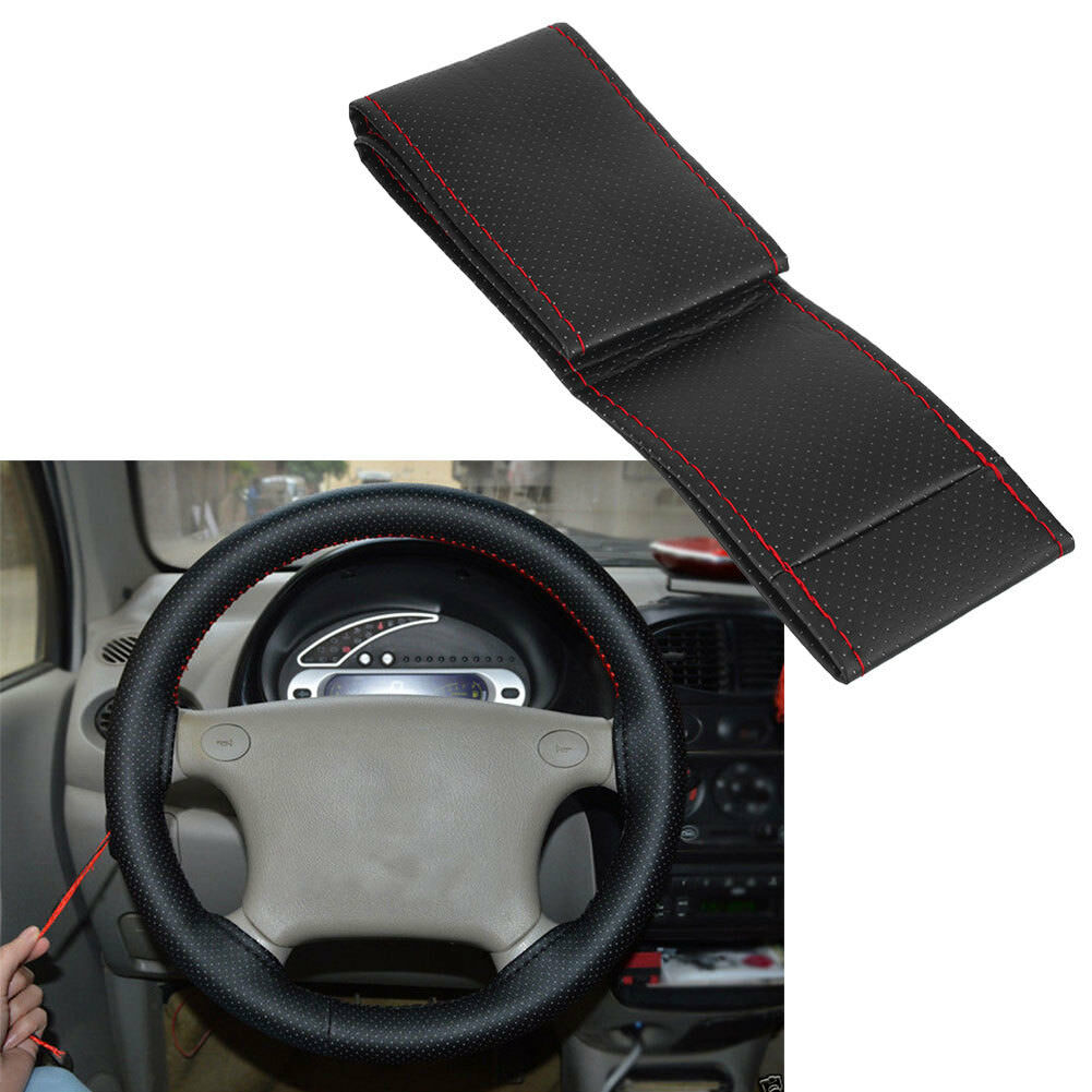 Car Truck PU Leather Steering Wheel Cover With Needles and Thread DIY Black MT