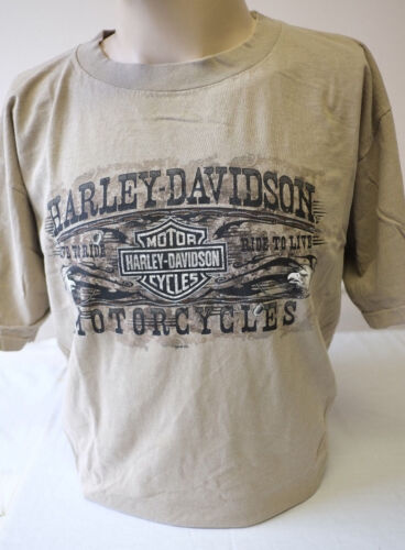 """Harley-Davidson Men/'s S//S /""""Southern Khaki/"""" Pigment Dyed Shirt Dealer Back Large"""