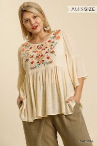 Umgee Floral Embroidered Ruffle Sleeve Top Plus Size XL 1X 2X