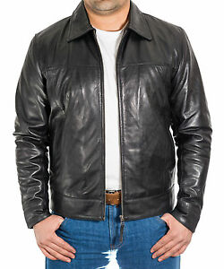 Mens-New-Black-Soft-Lamb-Leather-Casual-Smart-Fitted-Zipped-Bomber-Collar-Jacket