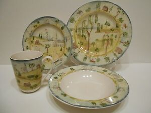 222 Fifth Pts Porters Village 16pc Dinnerware Set Lighthouse
