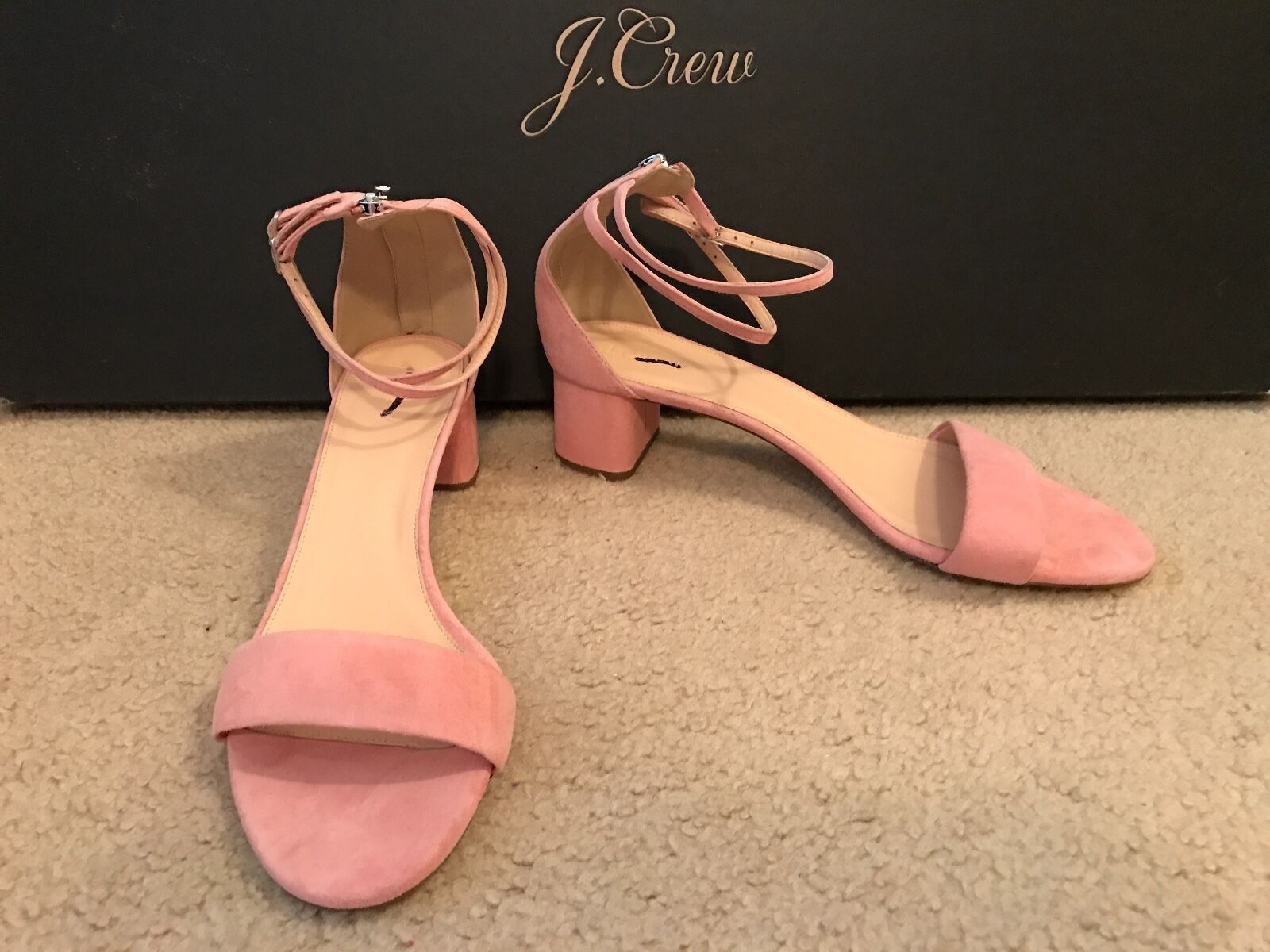 J.CREW SUEDE DOUBLE ANKLE-STRAP SANDALS SIZE 11M FRESH PEONY G0981