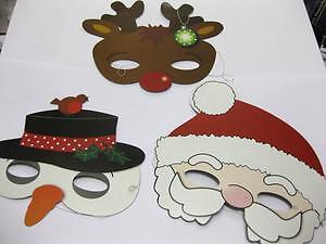 12-x-CHRISTMAS-MASKS-SANTA-SNOWMAN-REINDEER-PARTY-BAG-PANTO-WHOLESALE-JOB-LOTS