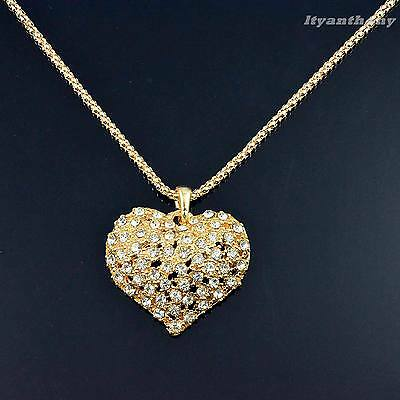 Vintage Fashion Golden Crystal Heart Pendant Long Chain Necklace #32G