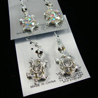 Silver Fish Hook Earrings W/ Crystal Stone Or Ab Stone Turtle/ Your Choice