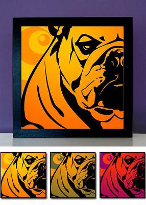 100% Wahr Bulldog Bulldogge Englische Hund Portrait Pop Art Poster Retro 3er Set Tierfotos