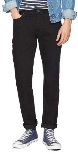 JACK /& JONES Jeans Men Tim Slim Fit Narrow Tapered Leg Denim Pants Black Stretch