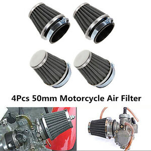 4x 50mm 2'' Universal Motorcycle Air Filter Cone For Honda Suzuki Kawasaki KTM