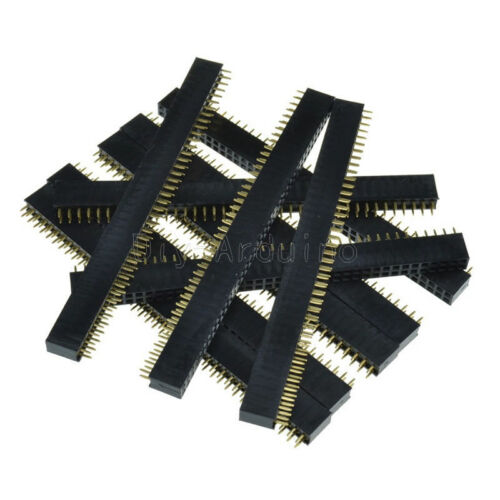 5Stks 2 x 40 2.54mm Double Row Female Pin Header gold-plated NEW