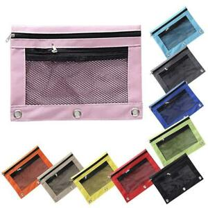 Pencil-Pouch-Case-Binder-File-Stationery-Bag-Oxford-Cloth-Mesh-Window-Pencil-Bag