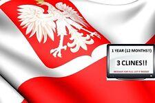 Polish Polska TV 1 year NC, Pol Sat, Cy fra, CC cam, telewizja 2 clines cccam