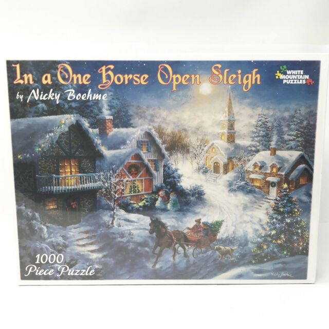 In A One Horse Open Sleigh By Nicky Boehme 1000p Jigsaw Puzzle 24x30