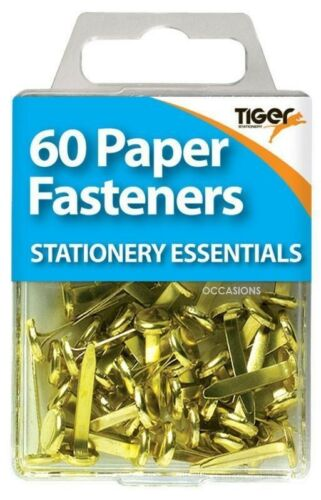 NEW 60 BRASS PAPER FASTENERS SPLIT PINS SECURE PAPERS PAPERWORK CRAFT USES TIGER