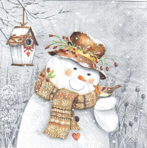 4 Solo Papel Decoupage Servilletas diseño de muñeco de nieve Robin-X206 Navidad invierno
