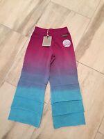 Matilda Jane Girls Knit Multi-color Pants - Size 4 - Blues / Burgundy