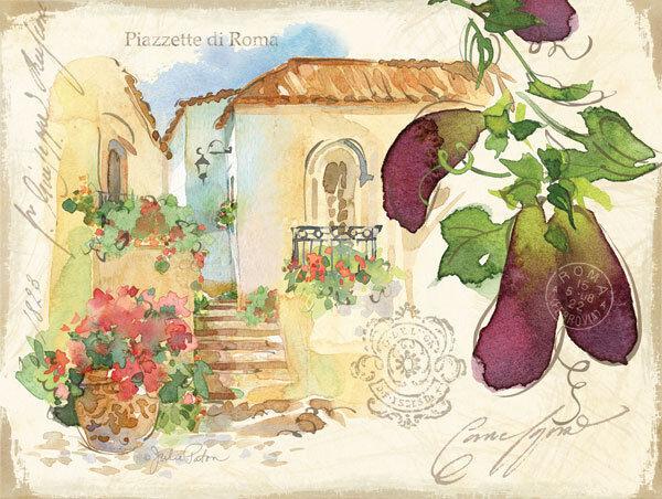 Julie Paton Piazzette Eggplant Keilrahmen-Bild Leinwand Italien Idylle Platz Rom