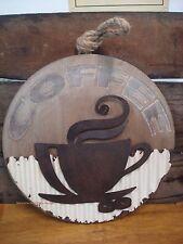 METAL WOOD COFFEE WALL ART PLAQUE cafe espresso cappuccino cup mug shop rope