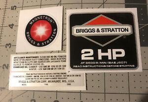 Briggs & Stratton 2  hp 1986-91 Black Shroud Labels Decals set of 4