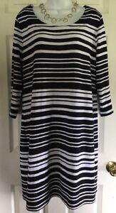 BANANA-REPUBLIC-Size-XL-Women-s-Dress-Striped-Stretch-3-4-slvs-Black-amp-White