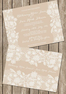 Personalised Vintage Lace Double Sided Wedding Invitations Packs Of