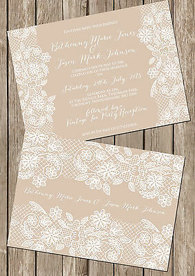 PERSONALISED VINTAGE LACE DOUBLE SIDED WEDDING INVITATIONS