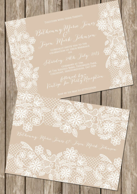 PERSONALISED VINTAGE LACE DOUBLE SIDED WEDDING INVITATIONS PACKS OF 10