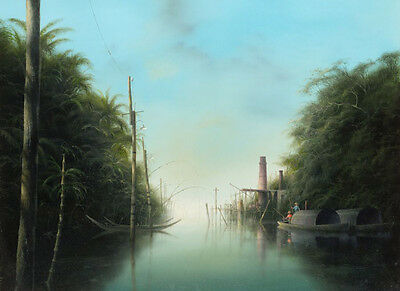 Beautiful huge Oil painting Sugar factory canoes in water landscape canvas 36""