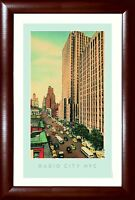 York Skyline Radio City Music Hall the Plaza Nyc Framed Poster 13.5x19.5