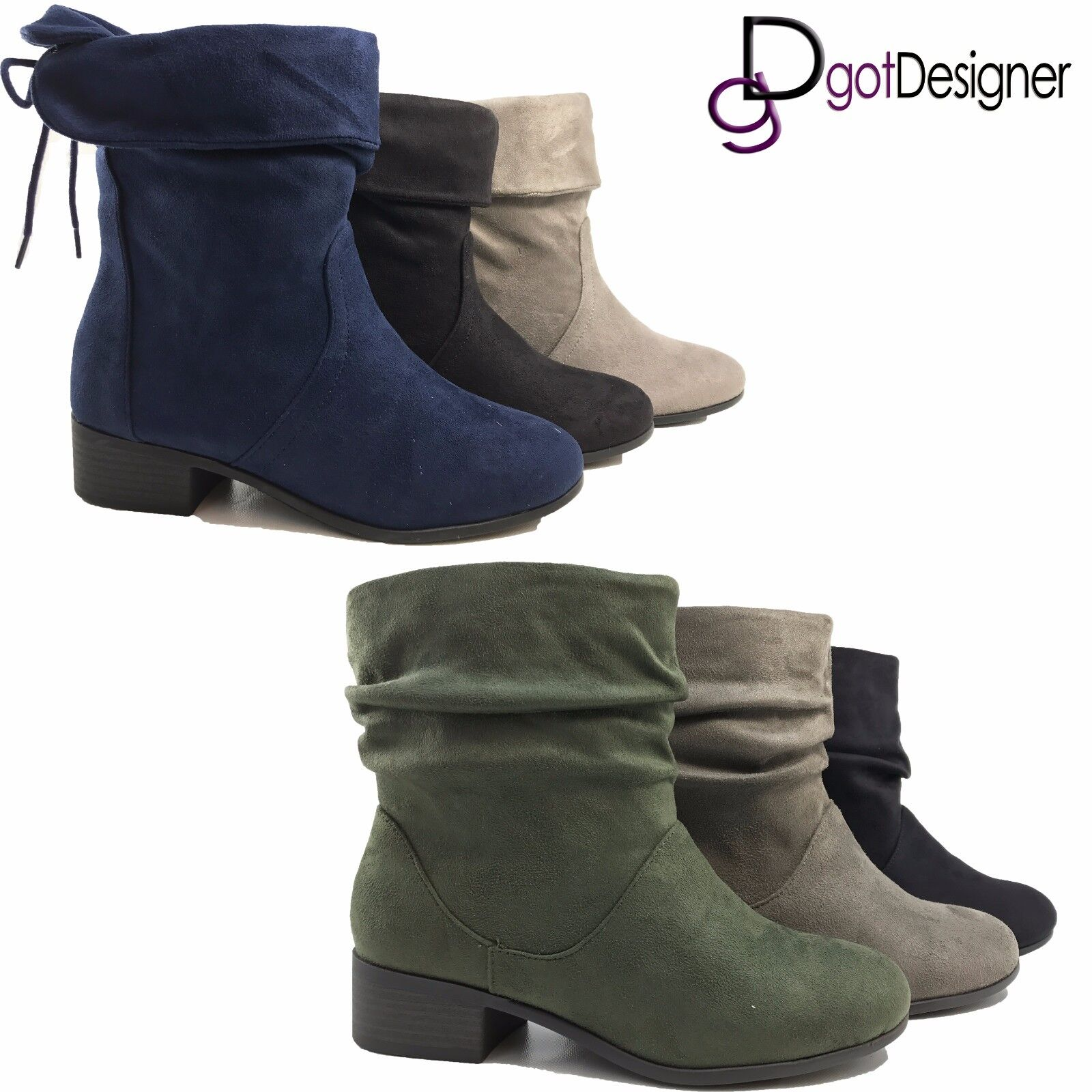 NEW Womens Short Slouch Ankle Boots Flat Heel Suede Booties BLK GRY Size 5-10
