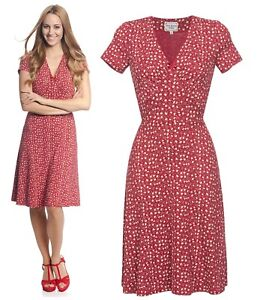 meet 09f3f 0068a Details about Vive maria My Holiday Dress Dress Romantic Flower Print Red  Red Allover 34535