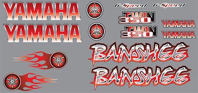 Banshee Decals GREEN Full Color Stickers Graphics 14pc ATV QUAD flames