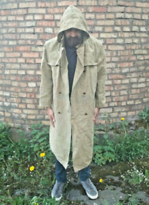 Cloak-canvas-Hood-MILITARY-COAT-Russian-Army-Size-L