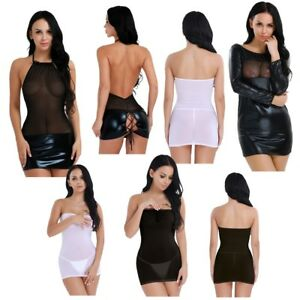 78522ff18dc Details about Sexy Women's Mesh Lingerie Club Wear Nightwear Babydoll Shiny  Leather Mini Dress