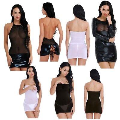 Sexy Women's Mesh Lingerie Wet Look Club Wear Babydoll Shiny Leather Mini Dress SpäTester Style-Online-Verkauf Von 2019 50%