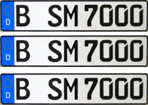 3 Stück 520x110 Standard Kennzeichen Nummernschild