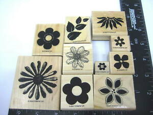 Stampin Up Floral Flowers Design Stamps Lot of 10 Wood Mount