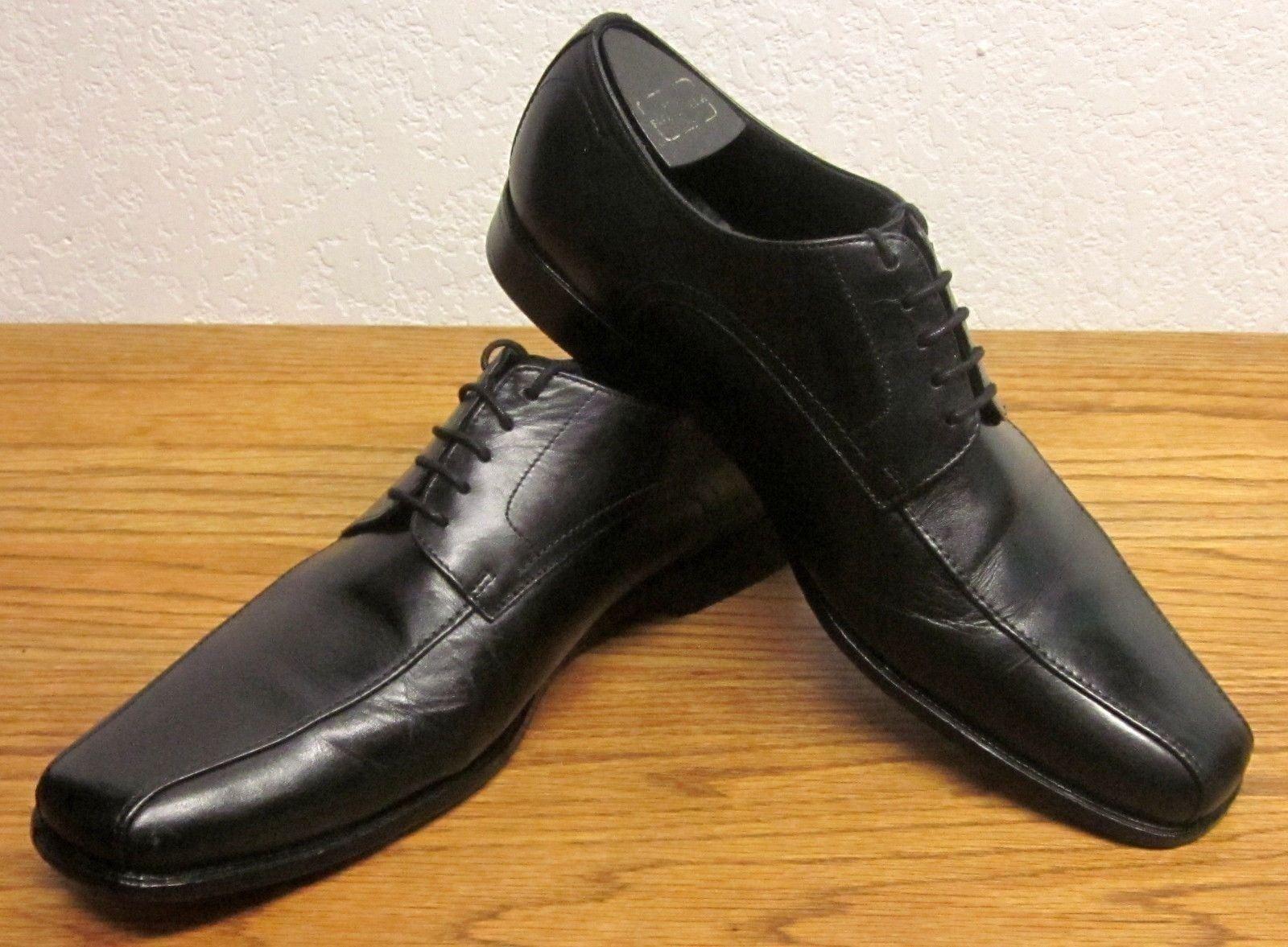 BOSS HUGO BOSS MEN'S (9 M) DRESS BLACK ALL LEATHER OXFORD DRESS M) SHOE LACE UP VGUC 42d40c