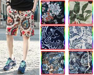 New-Men-039-s-Vintage-Floral-Print-Cozy-Casual-Beach-Board-Linen-Shorts-Pants-6-Size