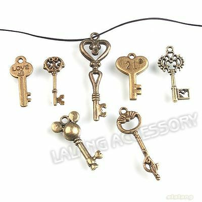 49pcs Wholesale Mixed Style Keys Charms Bronze Plated Jewelry Pendants Free Ship