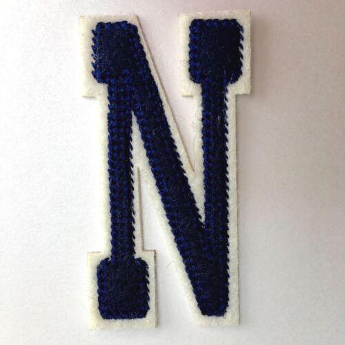 Blue Varsity letras del abecedario pequeño logotipo bordado Hierro En Parche Tela Insignia