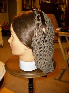 CIVIL WAR DRESS VICTORIAN ACCESSORIES LADY'S BROWN 100% COTTON CROCHET SNOOD~NET