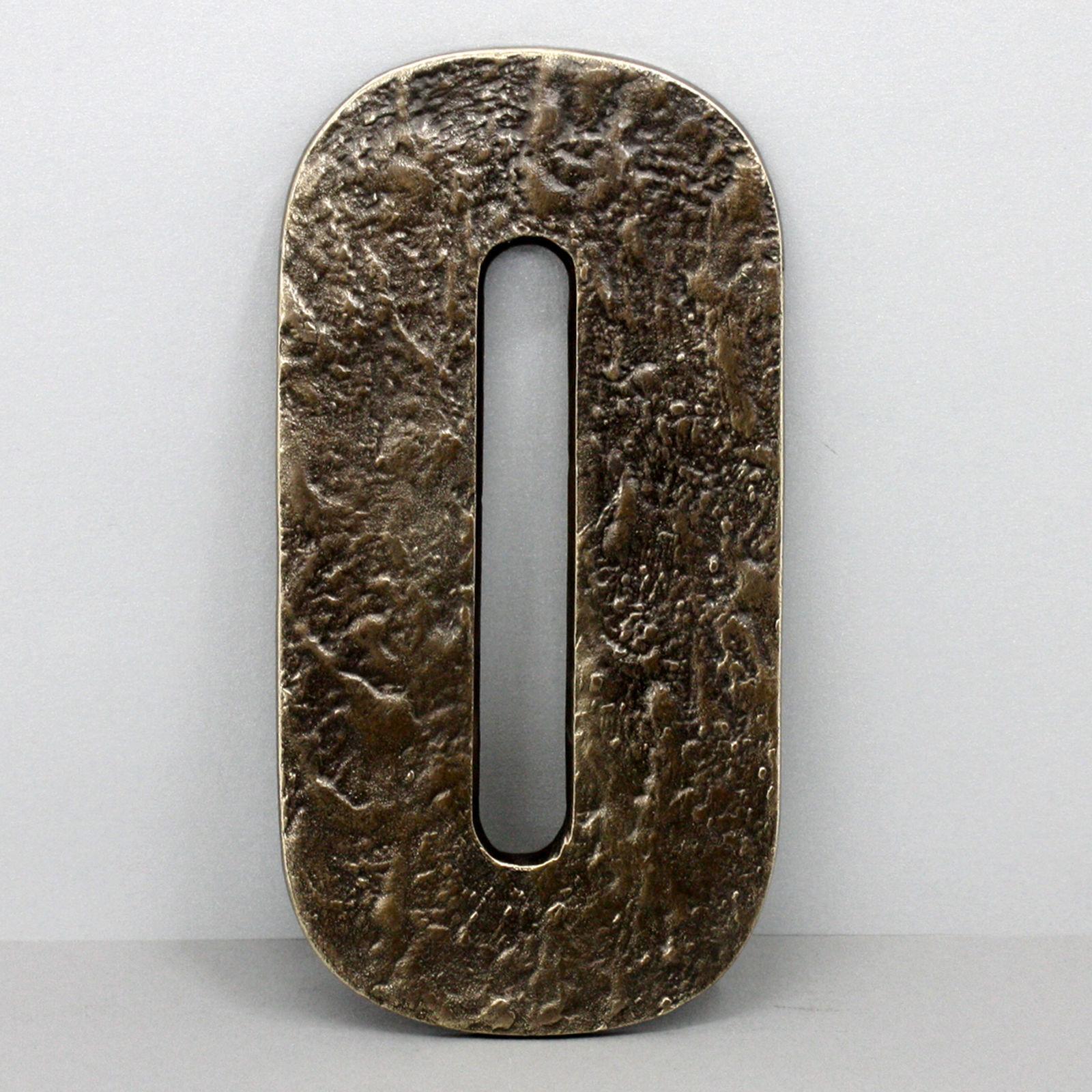 Gigantische Handgefertigte 24 cm Bronze Hausnummer Ziffer 0 Anft Hausnummern